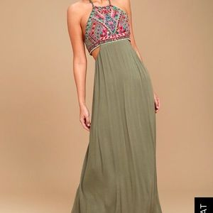 Dresses & Skirts - Lulus Little Beach Olive Green Maxi Dress